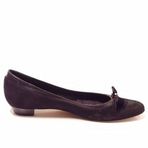 Coach| Flats with Velvet Bow and Faux Diamond